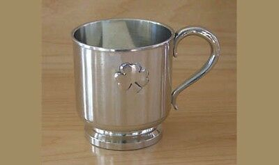 Irish Shamrock Baby Christening Cup Mullingar Pewter IRELAND