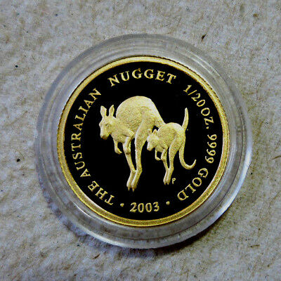 2003 P  Australia 1/20 oz. Gold $5 Kangaroo - Rare Proof - Only 914 Minted
