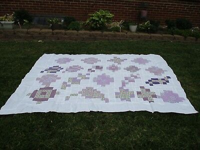 Purple And White Quilt Top