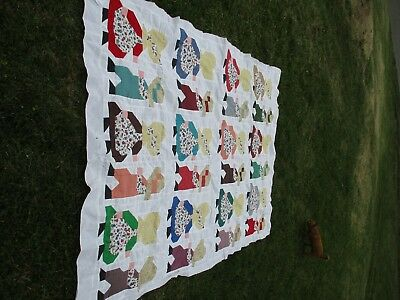 Sunbonnet Sue and Overall Sam Patchwork Quilt Top
