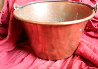 Antique Hand made Copper Pot LARGE Cauldron Wrought IRON Handle
