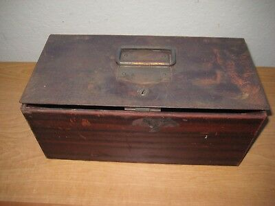 Antique Metal Box / With Lock / Missing Key