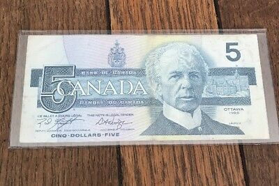 Bank Of Canada 1986 $5 Five Dollar Bill Note ANS Prefix - Great Condition