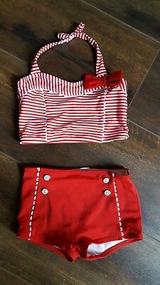 Janie and Jack girls retro swimsuit two piece vintage size 5 red