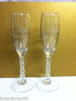 Asti Gala year 2000 stemmed champagne wine drink glass glasses 2 RZ9