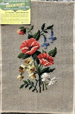 Vintage Lovely FLORAL BOUQUET Multi Color Preworked Needlepoint Penelope Canvas!