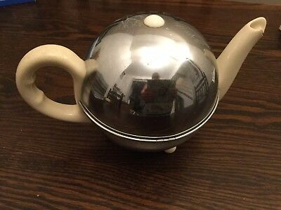 Vintage STAY HOT Art Deco Insulated Ceramic TEAPOT in CHROME PLATED Case