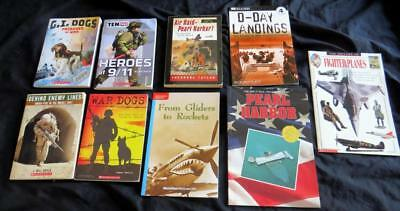 8 WORLD WAR 1 2 US MILITARY Pearl D-Day HISTORY CHILDREN BOOK LOT kid boy set