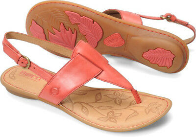 New Born Women's Trini T-Strap Thong Sandal Red Leather 10