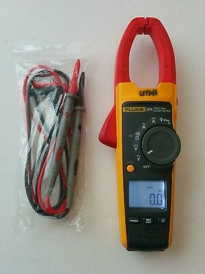 Fluke 374 True RMS AC DC Clamp Meter Multimeter + New Test Leads - Works Great!