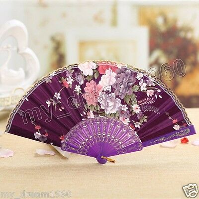 Spanish Style Flower Brocade Lace Decor Party Wedding Folding Hand Fan-Purple