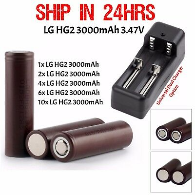 10x LG INR 18650 HG2 Rechargeable High Drain Li-ion Battery 3000mAh FlatTop Vape