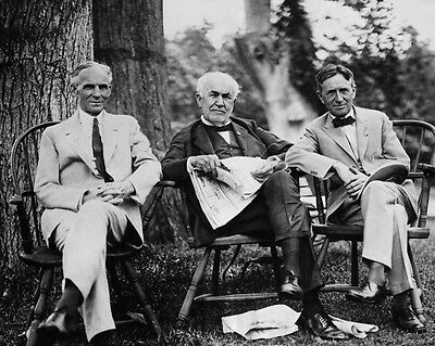 Genius Inventors HENRY FORD THOMAS EDISON & HARVEY FIRESTONE Glossy 8x10 Photo