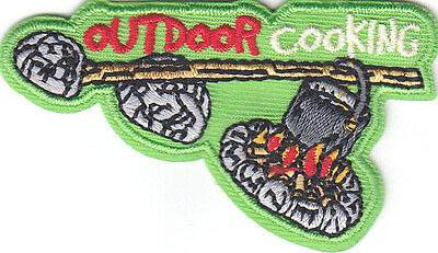 """IRON ON EMBROIDRED PATCH CAMPING COOKING FOOD BARBECUE /""""OUTDOOR COOK/"""""""