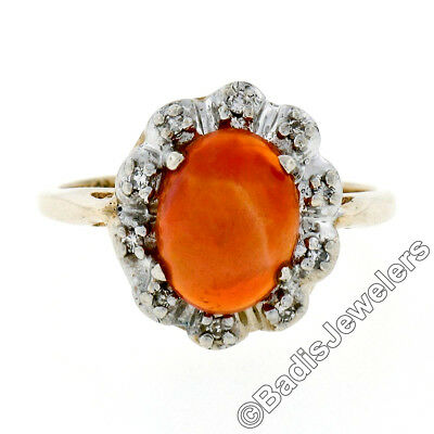 Vintage 14K TT Gold Oval Mexican Fire Opal & 0.10ctw Diamond Halo Cocktail Ring