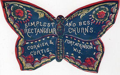 1800's Victorian  -Cornish & Curtis Butterfly Diecut Advert - Fort Atkinson Wi