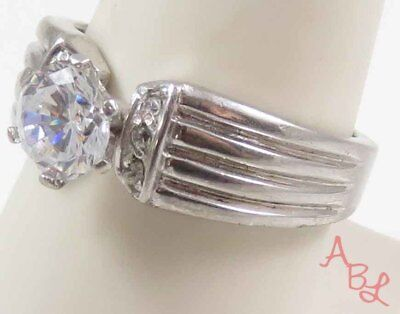 Sterling Silver Vintage 925 Round Cut White Stone Ring Sz 9 (7.1g) - 728338