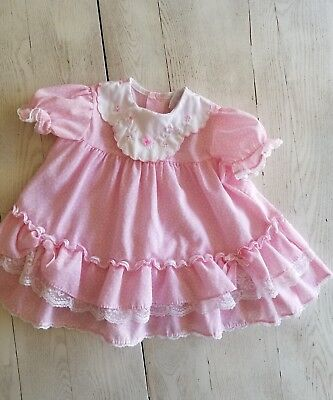 vintage Toddler Girls pink floral Lace dress size 12 mths