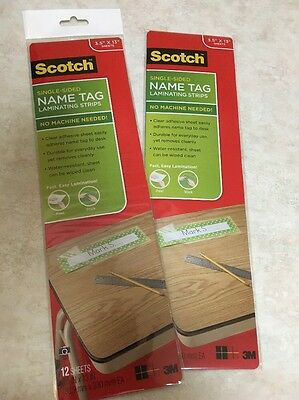 Scotch Single-Sided Name Tag Laminating Strips Desk Plate Holder Teacher Sleeve