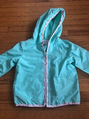 VGUC Old Navy Baby Girl Lightly Lined Rain Coat 2T Mint Green