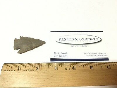 1 3/4 inch Dovetail Point Arrowhead Found in Ohio Light/Gray Flint Licking Co