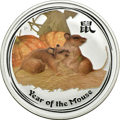 2008 1oz Silver Australian Lunar Year of the Rat Mouse Colorized Perth