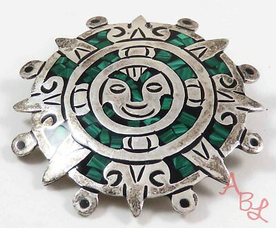 Sterling Silver Vintage 925 Aztec Mexican Malachite Brooch (16.1g) - 728292
