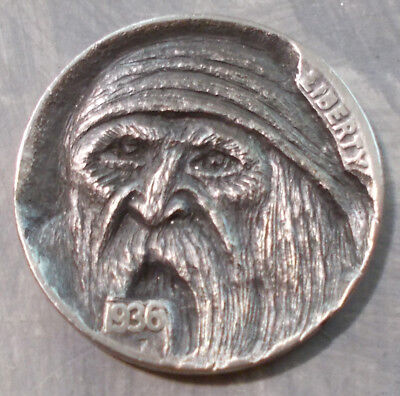 "Hobo Nickel, Miniature Metal Carving, ""They Call Me Sticks"""