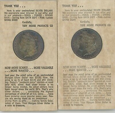 Two Beauty Morgan Silver Dollars in Thank You/Ad Card 1885-O & 1884-O Tidy House