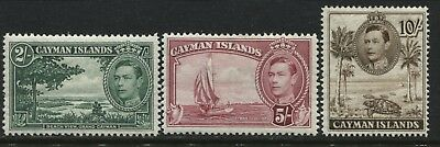 Cayman Islands KGVI 1938 2/, 5/, & 10/ mint o.g. (JD)