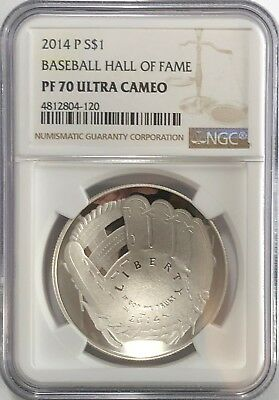 2014 P $1 Ngc Pf70 Ultra Cameo Silver Proof Dollar Baseball Hall Of Fame Coin