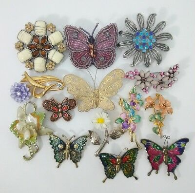 Vintage Brooch Pin Lot* Vtg-Now Colorful Flowers & Butterflies Brooches C1-1