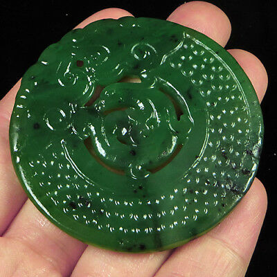 109.4CT 100% Natural Antique Old Hetian Jade Carved Pendant UCZS278