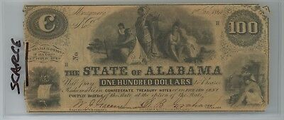 Scarce Jan 1st 1864 Confederate Treasury State of Alabama Montgomery C-Note $100