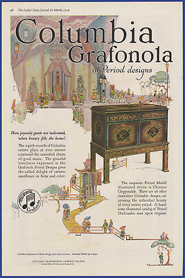 Vintage 1919 COLUMBIA GRAFONOLA Phonograph Ephemera Art Decor Print Ad