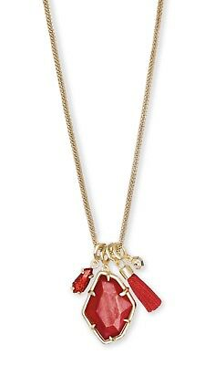 New Kendra Scott Hailey Gold Long Pendant Necklace In Red Mother Of Pearl $95