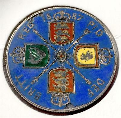 GREAT BRITAIN 1887 1 Florin Victoria Jubilee Silver Color Enamel, SEE! S+H $1.99