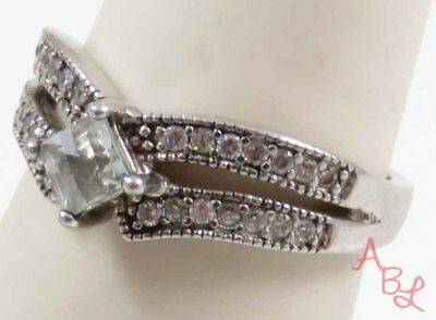 Sterling Silver 925 Princess Cut Cocktail White Stone Ring Sz 7 (2.8g) - 728269