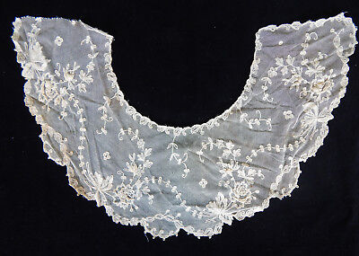 Point Ground Lille Antique Lace Collar Off-White Exquisite Rose Petals W/cloth!