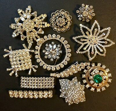 Vintage Brooch Pin Shape Lot Of 12 Clear Rhinestone - Starburst Floral Circle