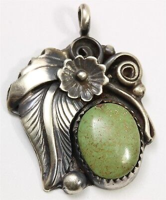 Navajo JOHNSON YAZZIE Sterling Silver Green Turquoise Floral Blossom Pendant 925