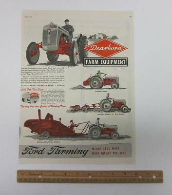 Vintage 1948 (10x13) Advertising Ford Dearborn Farming Equipment Tractor bv7859