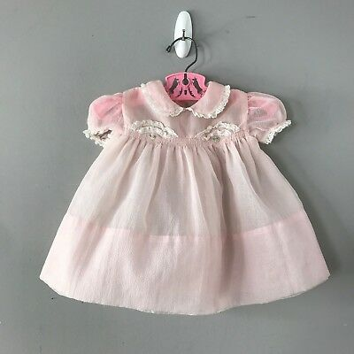 Vintage Pink Sheer Baby Dress Lace Trim Tiny Buttons Swiss Dot? see measurements