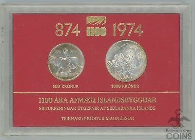 Two Coin Set 1100th Anniversary of Iceland Settlement 1000 & 500 Kronur