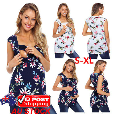 AU Plus Size Women Maternity Breastfeeding Nursing Tops Floral Shirt Blouse Tee