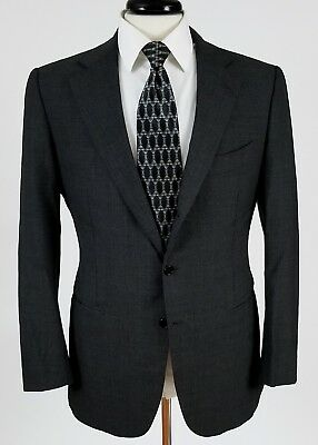 Borrelli Napoli wool sport coat blazer charcoal gray sharkskin 2 button 50 40 R