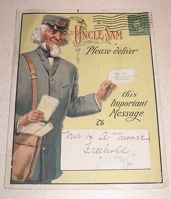 International Tailoring Co UNCLE SAM Mailed Tradecard Foldout Freehold NJ 1909