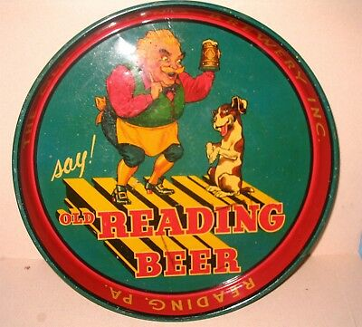 Old Reading Beer Tray Reading Pa Early Variation with Gus Man and Dog Nice Cond