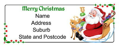 30 Christmas Personalised Quality Plus Adhesive Address Labels - Santa in Sleigh