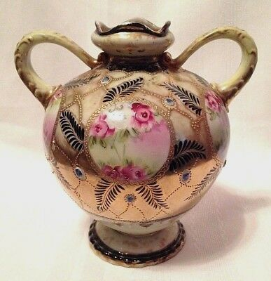 Handpainted NIPPON Floral Beaded Double Handled VASE Roses Flowers ~ Maple Leaf